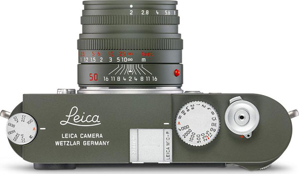 Leica M10-P Edition 'Safari' Camera (top view) with Leica Summicron-M 50 mm f/2 Edition 'Safari' Lens