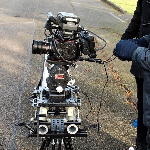 Panasonic AU-EVA1 rigged up for filming: Photo by Charlie Ray
