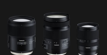 Tamron (left to right): SP 35mm F1.4 Di USD (Model F045) For Nikon & Canon, 35-150mm F2.8-4 Di VC OSD (Model A043) For Nikon & Canon, 17-28mm F2.8 Di III RXD (Model A046) For Sony E-mount (full-frame)