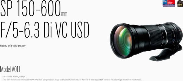 Tamron SP 150-600mm F5-6.3 Di VC USD (Model A011) for Canon