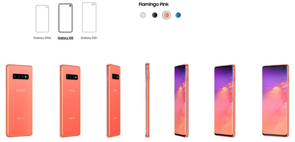 All three Samsung Galaxy S10 models are available in Flamingo Pink