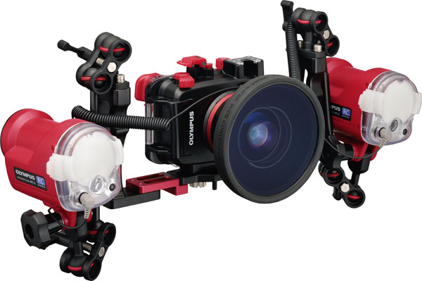 Olympus TOUGH TG-6 (red) with Underwater Case, PT-059, Underwater Wide Conversion Lens, PTWC-01, and two external Underwater Flash units for underwater photography (UFL-3))