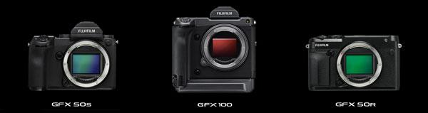 Fujifilm (left to right): GFX 50 S. GFX100, GFX 50R
