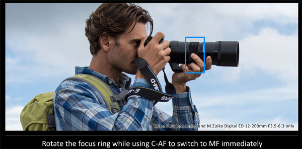 Olympus OM-D E-M1 Mark II firmware Version 3.0: C-AF+MF1 is included which allows users to instantly switch to MF by turning the focus ring while in C-AF for fine tuning the focus: Image Courtesy of Olympus