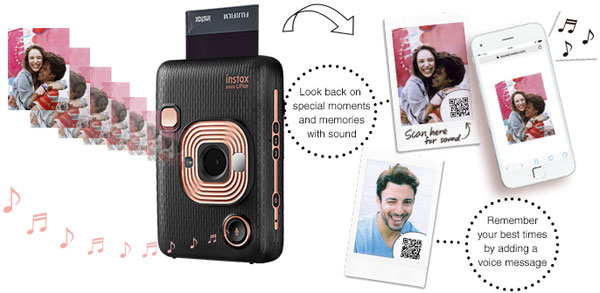 Fujifilm INSTAX MINI LIPLAY, Elegant Black: Convert recorded sounds into a QR code and add it to your photo. Scan the QR code with your smartphone to replay the sound and relive the moment: Images Courtesy of Fujifilm