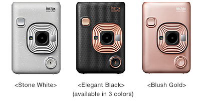 Fujifilm INSTAX MINI LIPLAY (left to right): Stone White, Elegant Black, Blush Gold