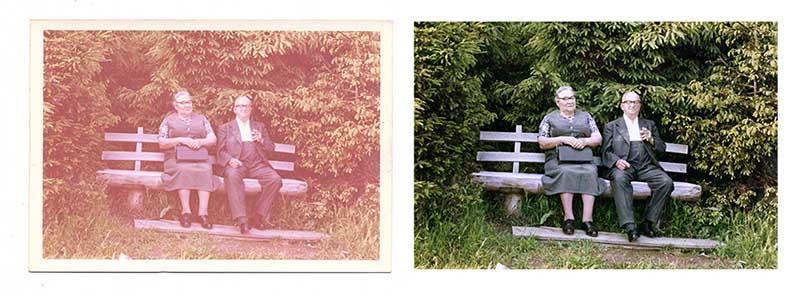 vintage image before & after