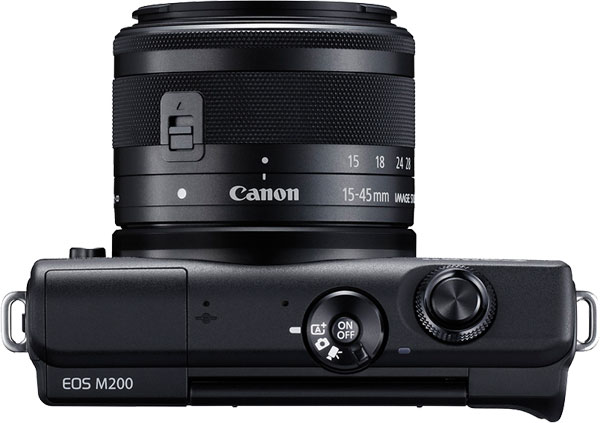 Canon EOS M200 Mirrorless Camera (Black) with EF-M 15-45mm f/3.5-6.3 IS STM Lens, Top View