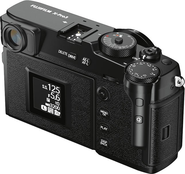 Fujifilm X-Pro3, Black: Hidden Tilting Touchscreen with the 1.28 inch Color Memory LCD Monitor which is set in the standard mode as shown above
