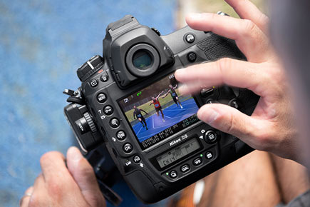 """Nikon D6: Image Courtesy of Nikon: """"Images can be conveniently sent, protected or rated, voice memos can be added and images can be prioritized to skip the queue during large transfers by simply flicking upward or downward in full screen playback—especially useful when using the WT-6/A/B/C Wireless Transmitter."""