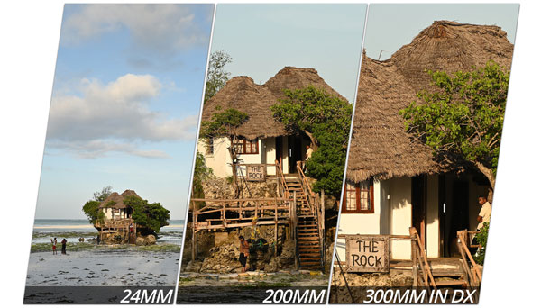 The 200mm reach of the NIKKOR Z 24-200mm f/4-6.3 VR can be effectively extended to 300mm when used on a DX camera like the Z 50 or by setting your FX camera to DX crop mode: Images Courtesy of Nikon
