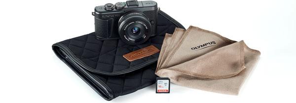 Olympus PEN E-PL10, kuro 黒 (black), + Olympus M.Zuiko Digital ED 14-42mm F3.5-5.6 EZ Lens + camera case + lens cloth + SD memory card