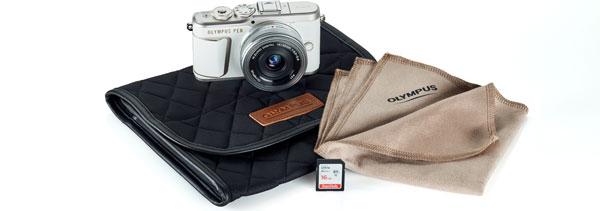 Olympus PEN E-PL10, shiro白 (white), + Olympus M.Zuiko Digital ED 14-42mm F3.5-5.6 EZ Lens + camera case + lens cloth + SD memory card