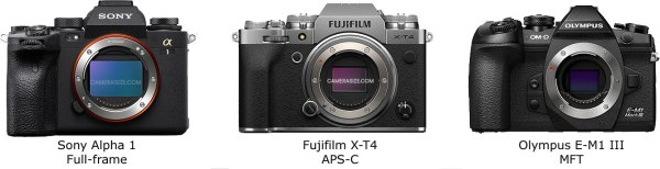 Comparing camera sizes for the different sensor formats (images courtesy of camerasize.com)
