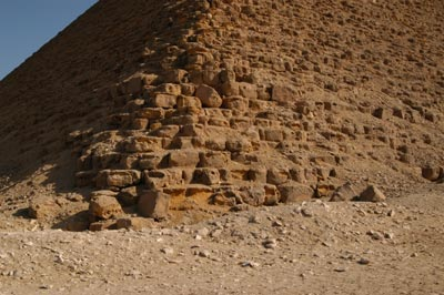 the corner of the pyramid, showing the red inner core