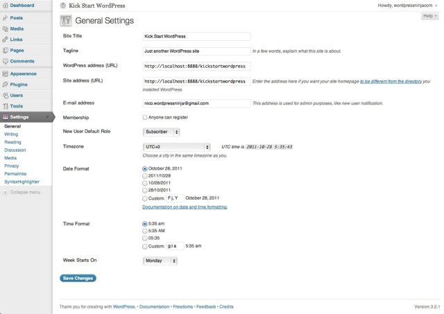 Configuring WordPress Settings PHP and ASP