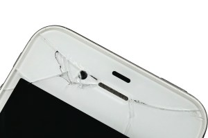 Broken screen of a mobile phone