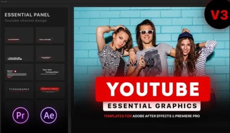 VIDEOHIVE YOUTUBE ESSENTIAL LIBRARY MOGRT FOR PREMIERE V3.9.1 21655955