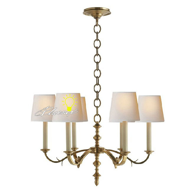 Anrique 6 8 Fabric Shades Copper Chandelier 8780