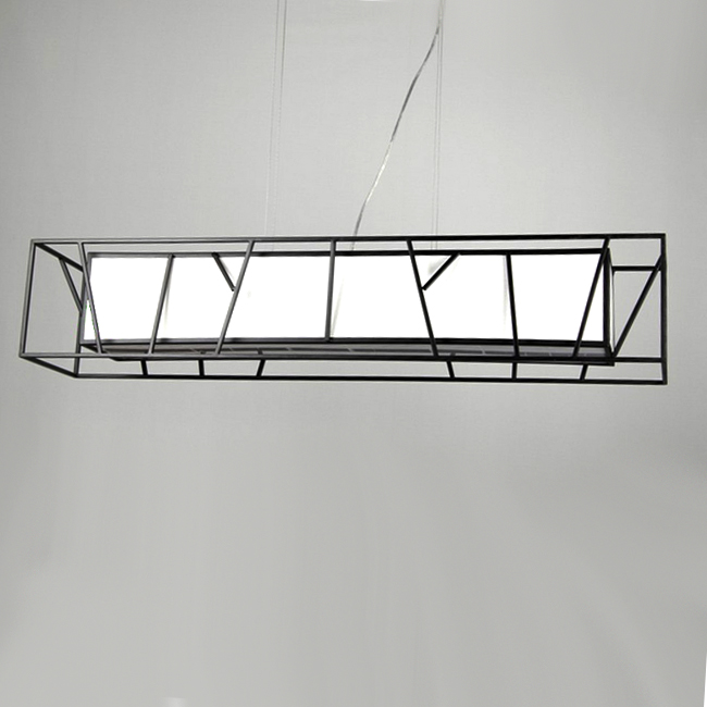 Antique Rectangle Iron And Flax Fabric Chandelier 9724
