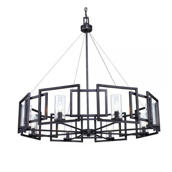 Post Modern Black Iron Art And 8 Clear Glass Shades Chandelier 1