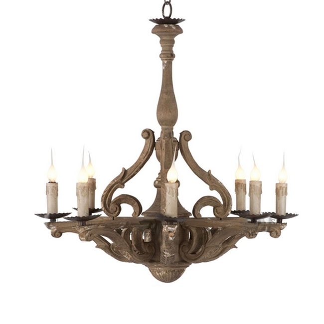 Product List Antique Wood Art 8 Lights Chandelier In Rusted Finish 10815