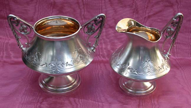An American Sterling Sugar Bowl and Cream Pitcher
