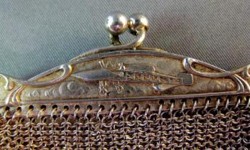 European Silver Chatelaine Purse with Airplane Detail 02