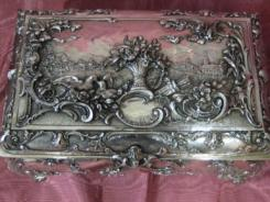 Rare and Large Silver Plated Jewelry Box 02
