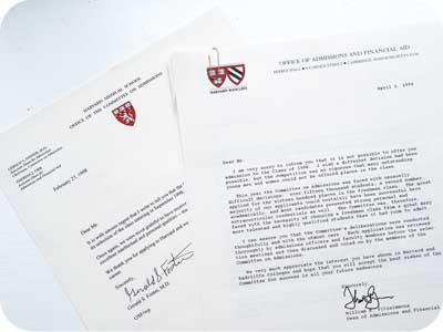 Harvard Rejection Letters