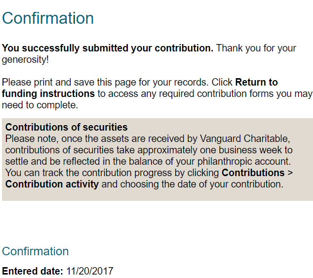 Vanguard Charitable Confirmation