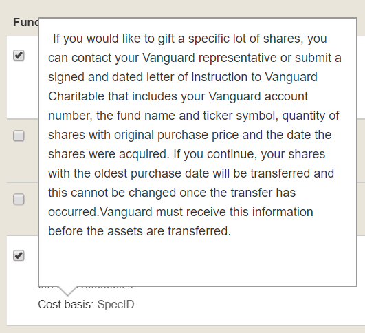 Vanguard Charitable FIFO