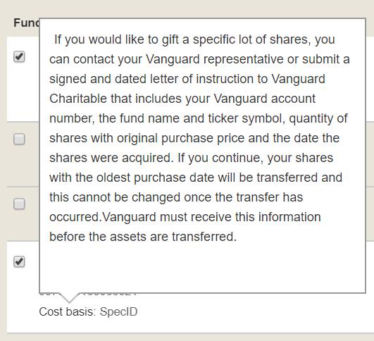 Vanguard Charitable FIFO