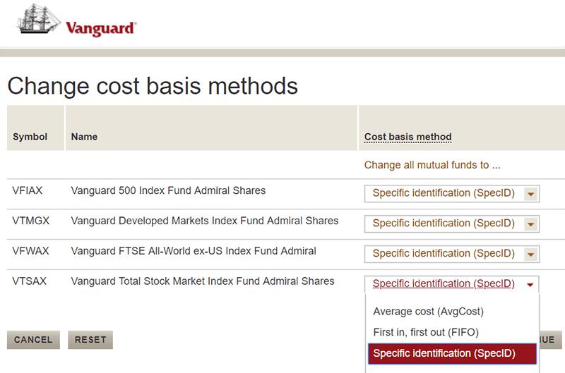 Vanguard Cost Basis
