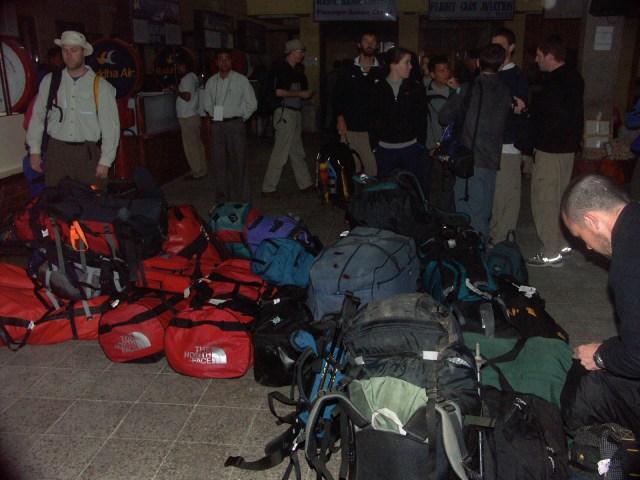 Team gear bags at Kathmandu airport