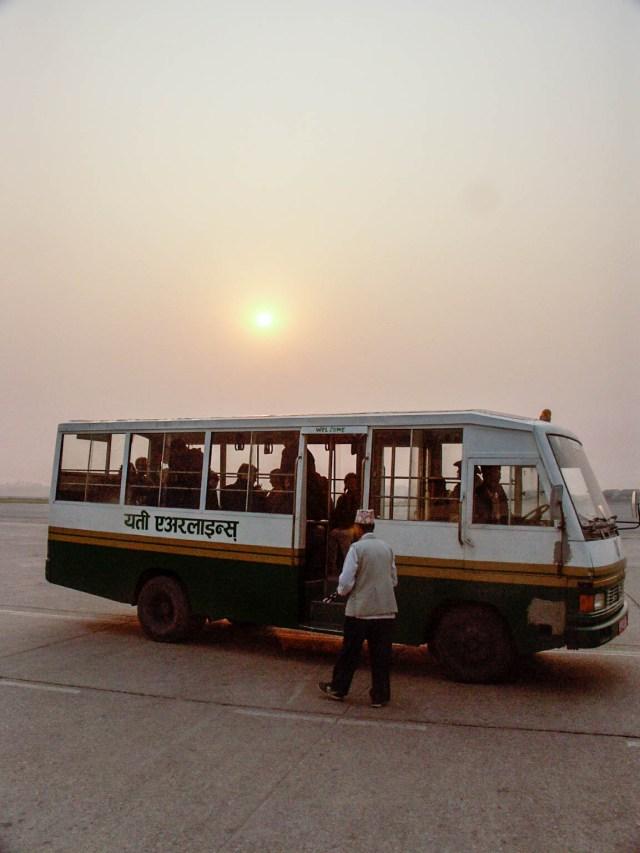 Shuttle bus at Kathmandu airport