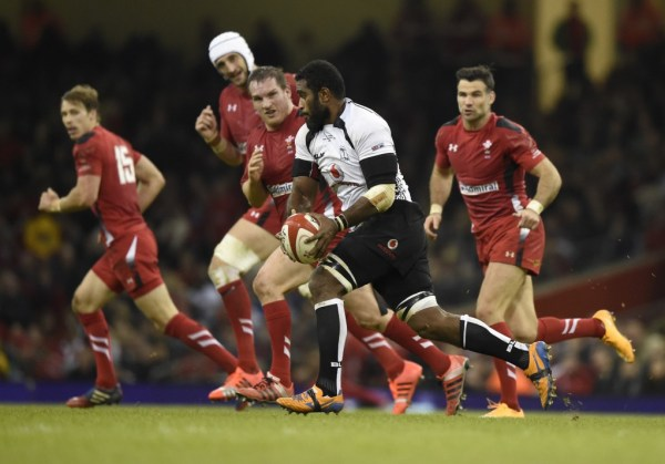 Fiji's Qera runs past the Welsh defence during their Autumn International rugby union match at the Millennium Stadium in Cardiff