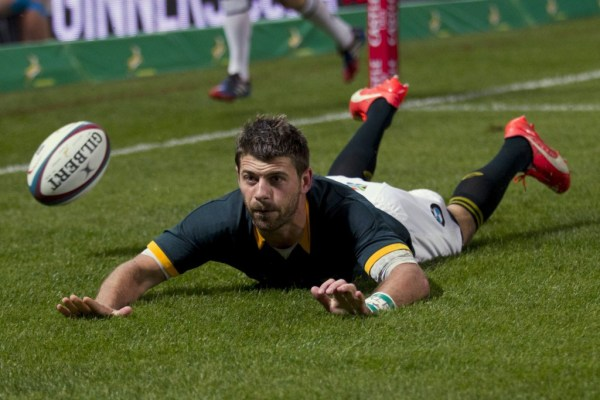 South Africa's Willie le Roux scores a try during their Championship rugby union test match against Argentina in Durban