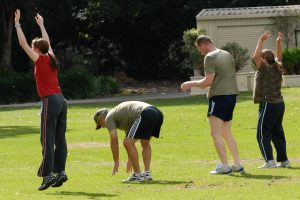 Group of young people taking exercise in a park in perth australia