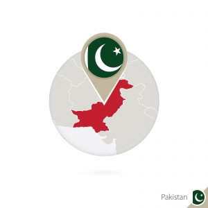 Pakistan map and flag in circle. Map of Pakistan Pakistan flag pin. Map of Pakistan in the style of the globe. Vector Illustration.