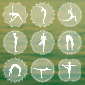 Vector yoga illustration. Set of yoga logo. Silhouettes of girls in yoga poses. Design elements for yoga poster. Yoga class, yoga center, yoga studio, spa center. Yoga sticker. Yoga asanas.