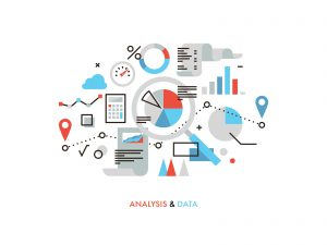 Thin line flat design of business graph statistics big data analysis global seo analytics financial research report market stats. Modern vector illustration concept isolated on white background.