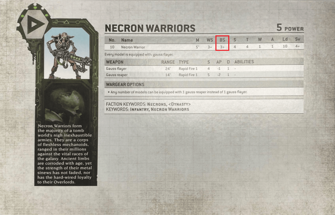 necron warriors ballistic skill stat