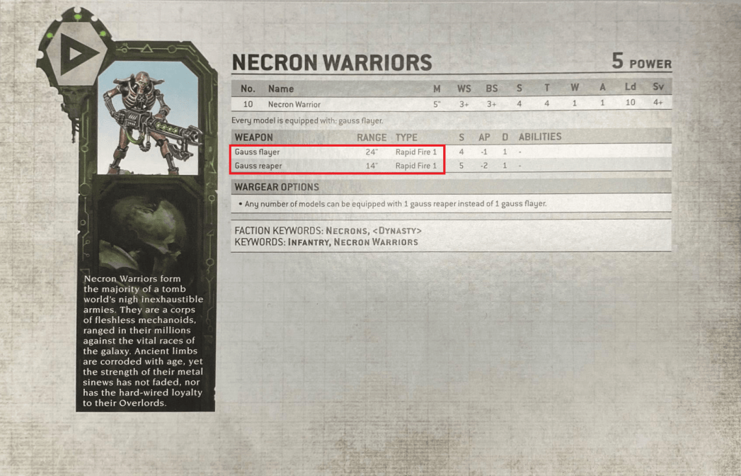 necron warrior weapon stats