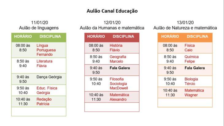 prog Canal Educação realiza último aulão antes do Enem de 11 a 13 de janeiro