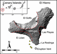El Hierro island: Flank collapse scars are highlighted by red broken lines.