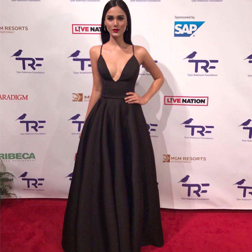 Model Bruna Gadelha in our Evita dress at the Tyler Robinson Gala in Las Vegas