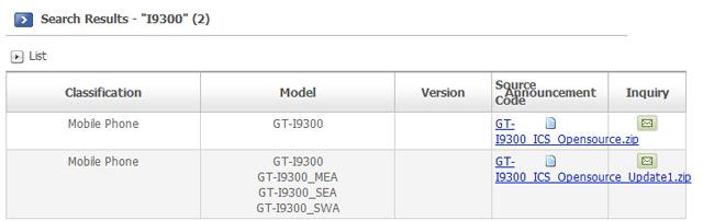 codice sorgente per il Galaxy S3