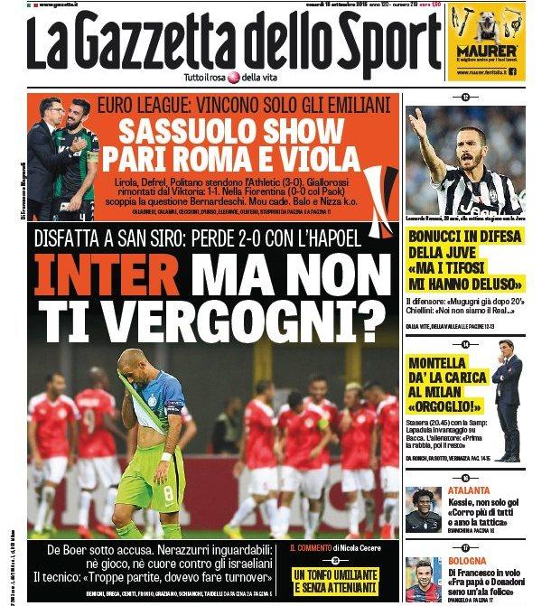 Prima pagina de La Gazzetta Dello Sport (venerdì 16 settembre 2016)