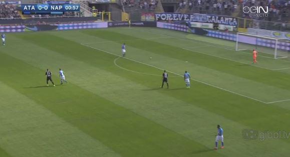 Con palla a Reina Petagna è già su Koulibaly, mentre Kurtic guarda da vicino Jorginho. Maksimovic imposta l'azione dalle retrovie